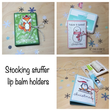 Lawn Fawn Holiday Party Animals Toboggan Together Chapstick Lip Balm Stocking Stuffer Stamp Right Up